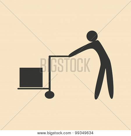 Flat in black and white mobile application storekeeper