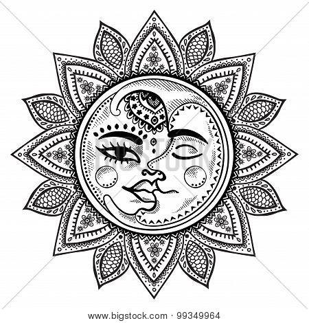 Sun and moon vintage illustration