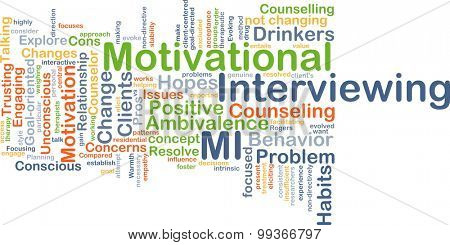 Background concept wordcloud illustration of motivational interviewing