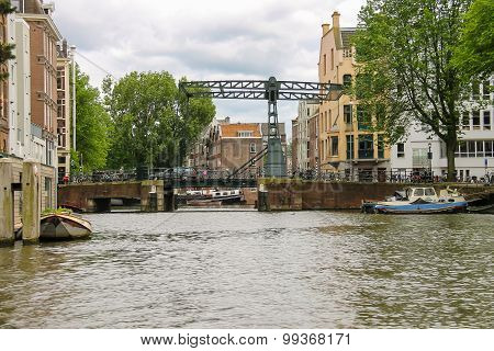 Bascule Bridge On The Canal In Amsterdam
