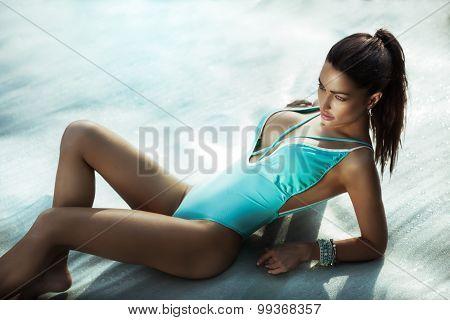 Sexy Brunette Beauty On The Beach.