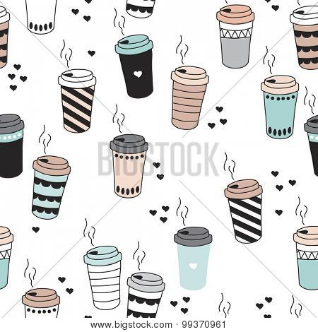 Seamless morning coffee hot drink cup tea to go illustration with hearts and stripes pastel background pattern in vector