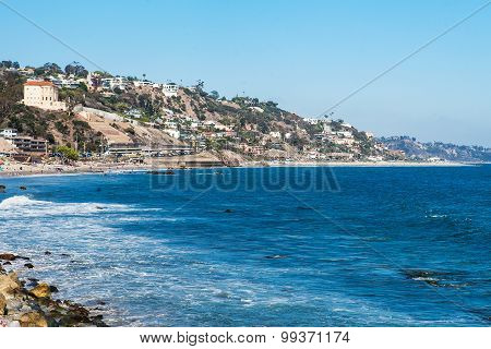 Shore in Malibu. Summer day at the pacific ocean