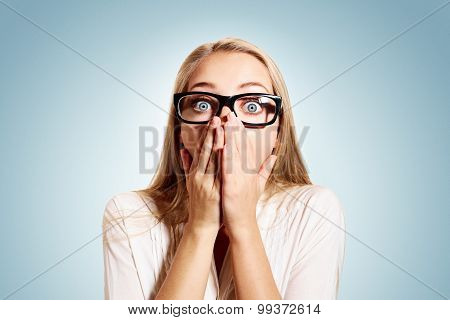 Closeup Portrait Of Surprised Young Handsome Blonde Business Woman Looking Shocked In Full Disbelief