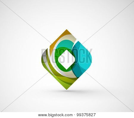 Abstract geometric company logo square, rhomb. Vector illustration of universal shape concept made of various wave overlapping elements poster