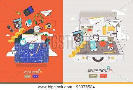 Vector illustrations of working process. Workflow creative director, web designer, public relations