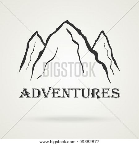 The three peaks vintage mountains. Adventure labels. Vector illustration poster