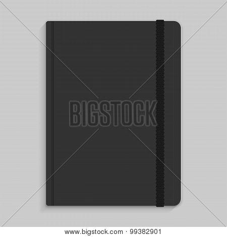 Moleskin Notebook With Black Elastic Band Vector Image.