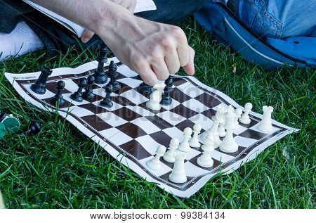 Playing pocket chess on grass alone