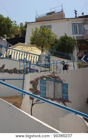 FETHIYE, TURKEY, 21ST JULY 2015: Old architectual steps leading to residentual homes in Fethiye, Turkey, 21st july 2015