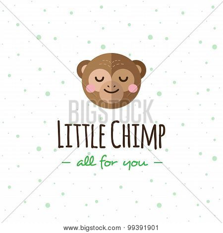 Vector cartoon monkey head logo. Flat logotype.