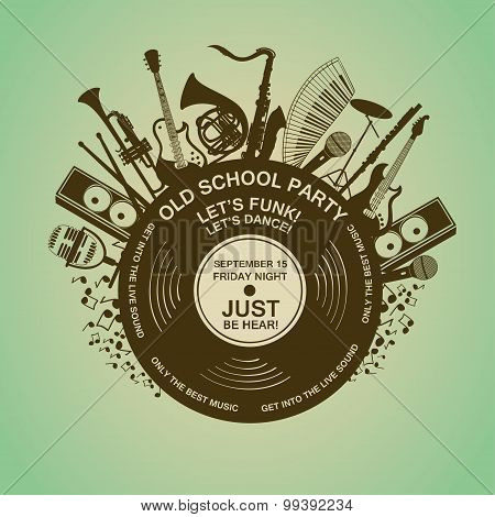 Invitation With Musical Instruments And Vinyl Record