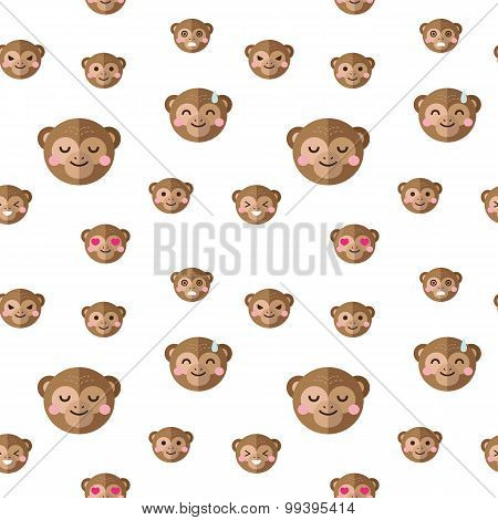 Vector flat cartoon monkey heads with different emotions seamless pattern. Chimp emoticons backgroun