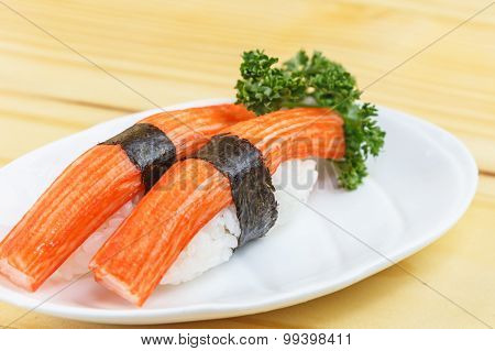 Traditional Japanese Food, Immitation Crab Sticks Or Kani Kamaboko Sushi