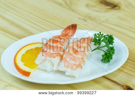 Traditional Japanese Food, Shrimp Sushi Or Ebi Nigiri