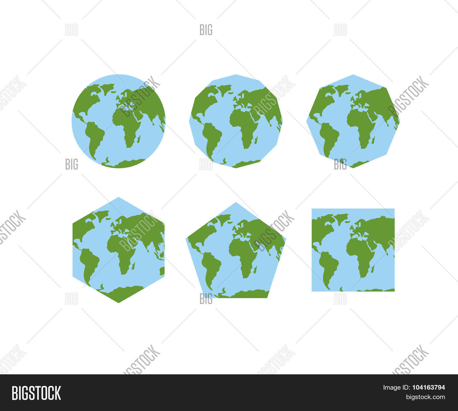 Set geometric shapes vector photo free trial bigstock set of geometric shapes of world atlases map of planet earth earth is round gumiabroncs Choice Image