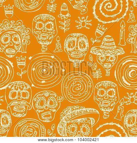 Seamless pattern. Dia de los muertos Text in Spanish.