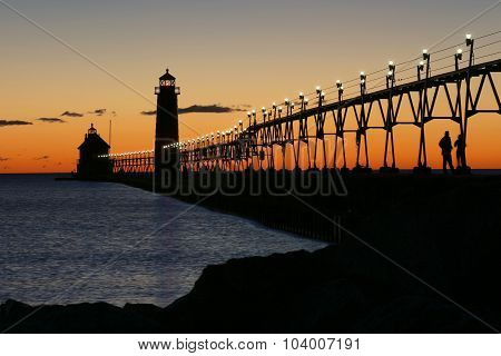 Lighthouse at sunset - Grand Haven