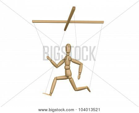 Wooden Puppet Running. Carrer, Stress And Influence Concept.