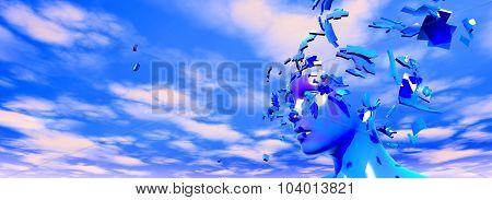 Shattered Face Stress And Headache Idea.