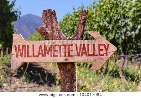 Willamette Valley wooden sign with winery background