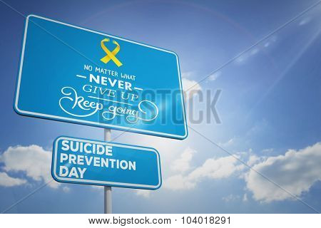 Suicide prevention day message against cloudy sky with sunshine