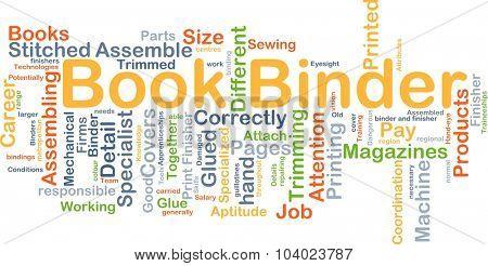 Background concept wordcloud illustration of book binder