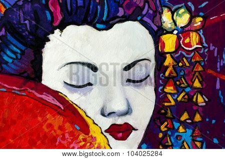 Beautiful geisha with a fan.