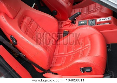 Beautiful Red Leather Fair Of The Sport Car