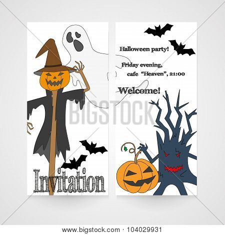 Card with hand drawn doodle scum - ghost, scarecrow, pumpkin and other. Invitation for Halloween par