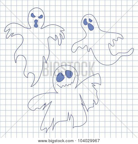 Collection of ghosts. Icons for Helloween in notebook.