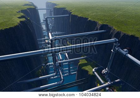Pipes inside the earth fault.