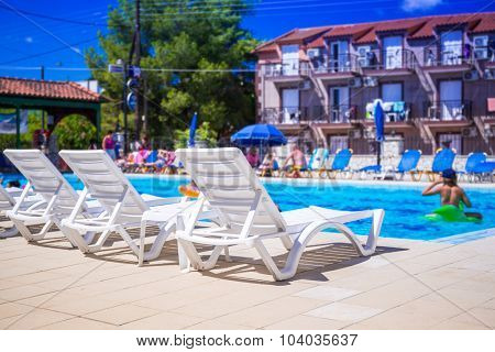 LAGANAS, GREECE - AUG 21, 2015: Swimming pool at the Perkes hotel in Laganas town of Zakynthos island, Greece.