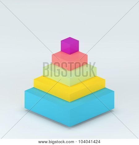 3D Render Pyramid For Infographic Or Web Design