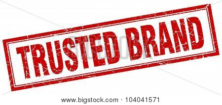 trusted brand red square grunge stamp on white poster