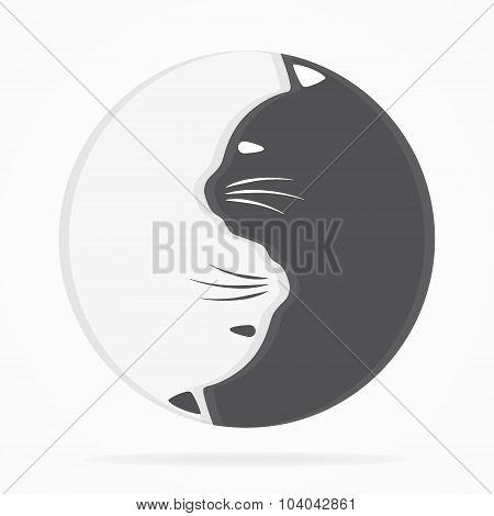 Yin yang cats logo of harmony and balance