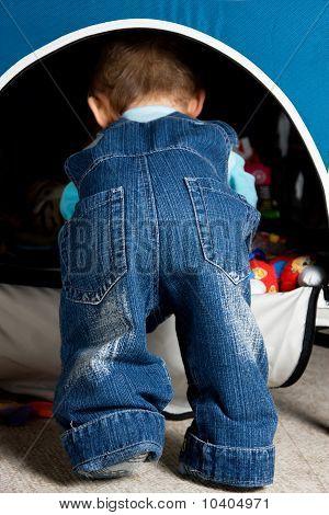 Cute Baby Butt In Blue Jeans