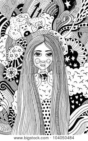 psychedelic doodle with girl holding earth in her hands