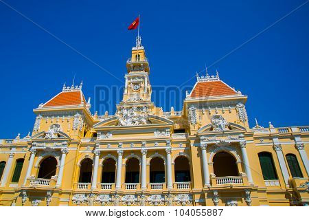 French style of building in Vietnam, Asia. Beautiful Ho Chi Minh City Hall. Facade of house with orn