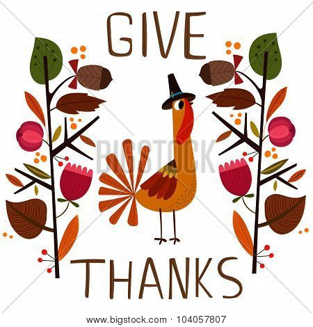 Lovely Vector Card Or Poster For Happy Thanksgiving With Cute Turkey. - Stock Vector