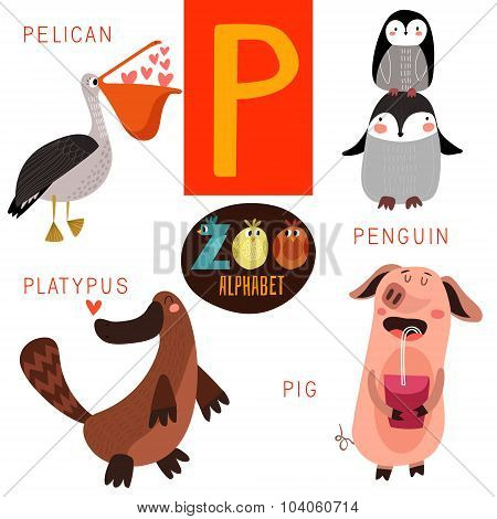 Cute Zoo Alphabet In Vector.p  Letter. Funny Cartoon Animals:pelican,penguin,platypus,pig. Alphabet