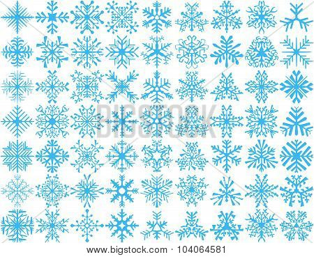 Set of 63 vector snowflakes
