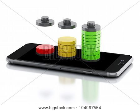 3d renderer image. Smartphone and battery charge. Mobile phone charging concept. Isolated white background poster