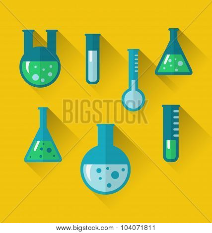 Icons of chemical test tubes with shadows, modern flat style