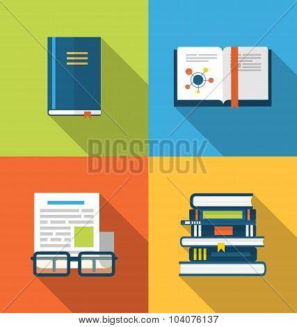 Flat icons design of handbooks, books and publish documents, lon