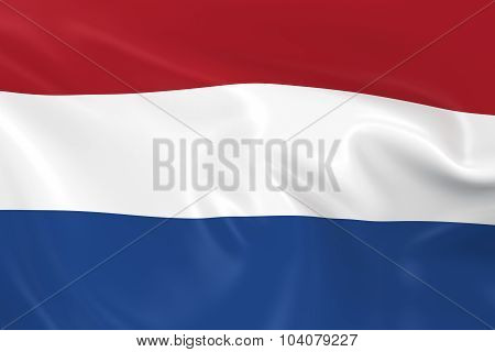 Waving Flag Of The Netherlands - 3D Render Of The Dutch Flag With Silky Texture