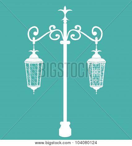 Vintage forging ornate streetlamps isolated