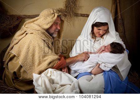 Live reenactment of the christmas nativity scene