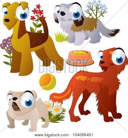 Vector amusing dog breeds: setter, bulldog, zuchon and airedale terrier