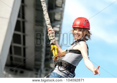 Young Woman After The Bungee Jump
